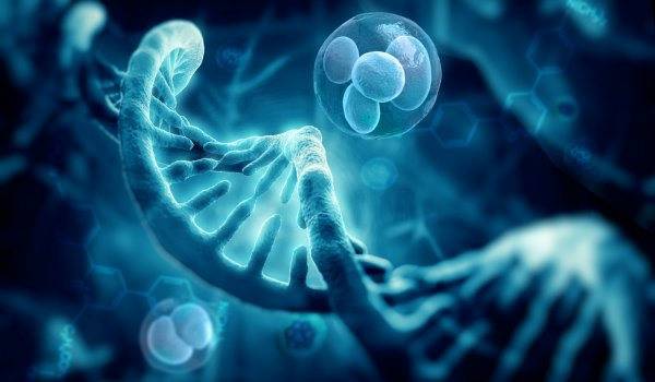 3d render cells and dna structure, abstract background